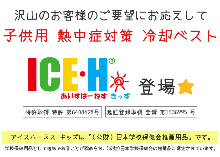 熱中症対策グッズ 冷却ベスト 子供用 アイスハーネス キッズ 新型 和柄シリーズ 保冷剤6個付きセット 2歳から10歳向け