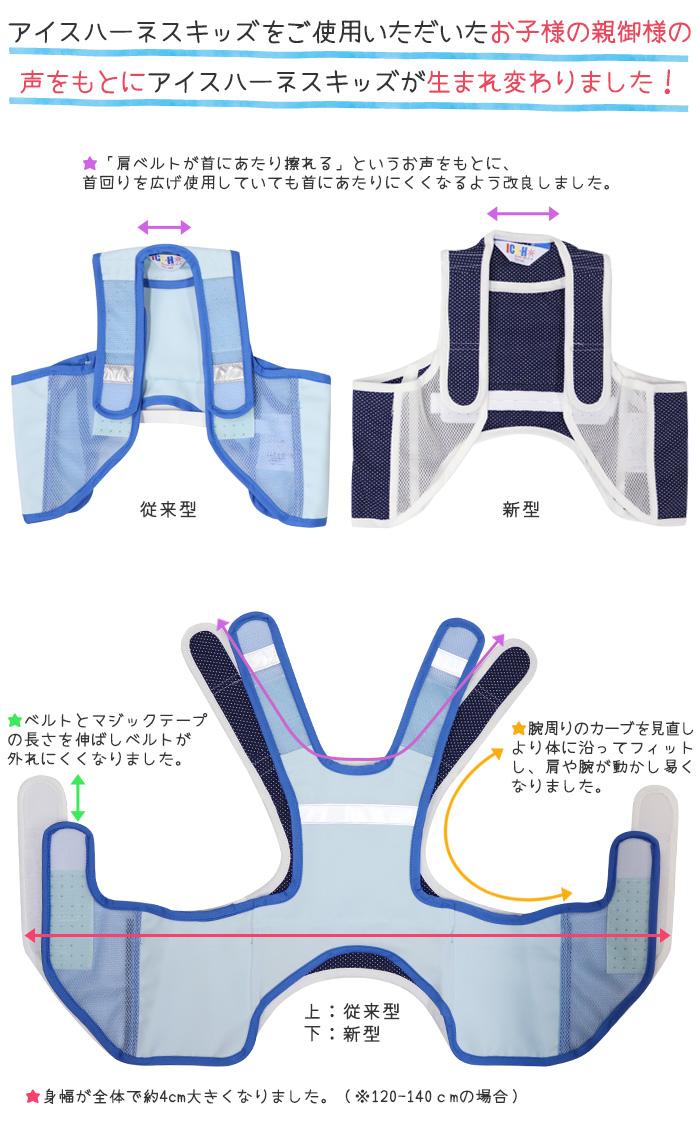 熱中症対策グッズ 冷却ベスト 子供用 アイスハーネス キッズ 新型 柄シリーズ 保冷剤3個付きセット 2歳から10歳前後向け