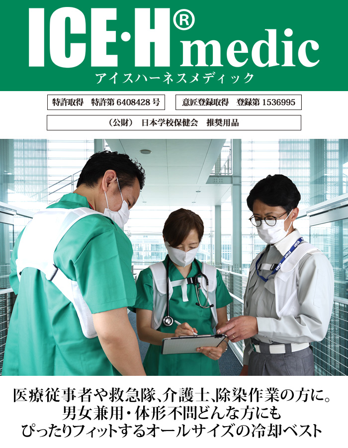 熱中症対策グッズ 冷却ベスト アイスハーネス メディック 保冷剤3個付き SからXL全サイズ対応 医療 救急 介護 暑さ対策 熱中症対策 サイズ調整機能 クールベスト