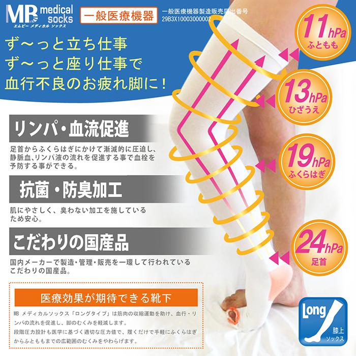 ロングタイプ 医療用 弾性ストッキング 一般医療機器 MBメディカルソックス ひざ上 1足(両足)