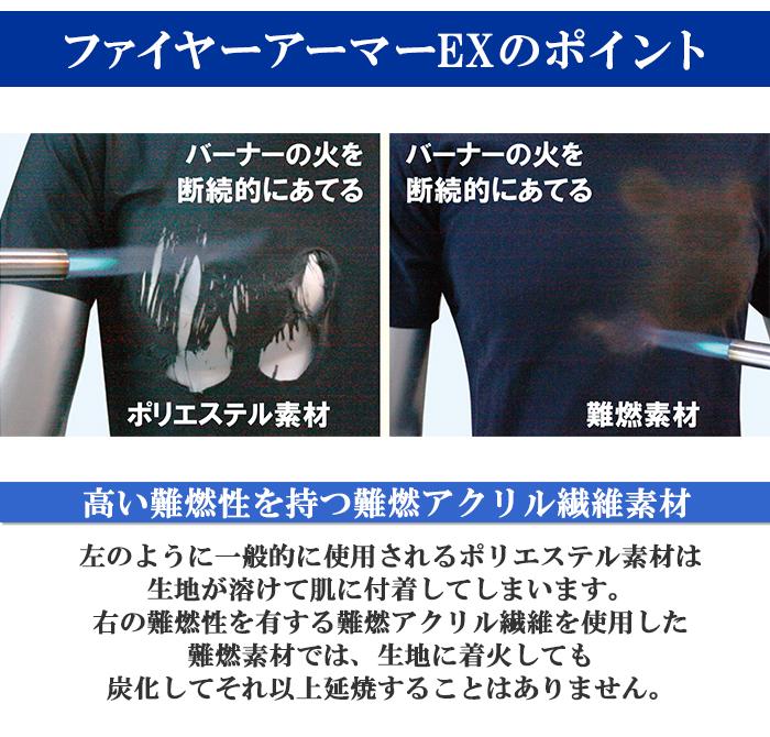 難燃Tシャツ ファイヤーアーマーEX 長袖 ロングスリーブ 難燃 制電 吸汗速乾 抗菌防臭