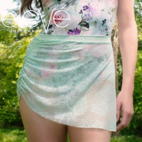 【eleve】 Short Gathered Skirt Misty Gardenia Lace  スカート