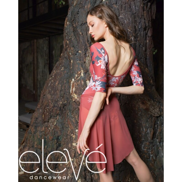 【eleve】Poppy Mid-Back Cinnamon Flower レオタード