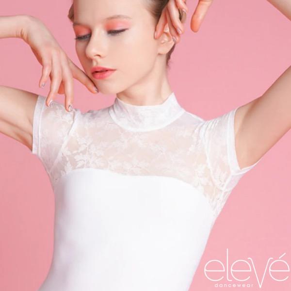 【eleve】 Elizabeth White Ivy Lace レオタード