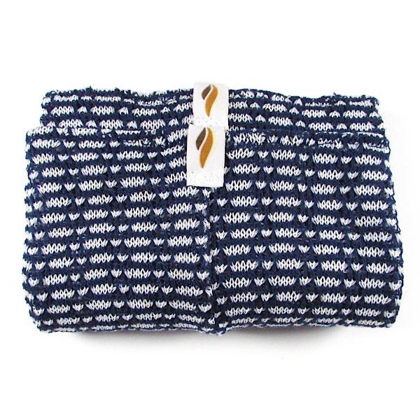 【Rubia Wear】 フル レッグウォーマー Morse 紺ベース/白ドット  大人用
