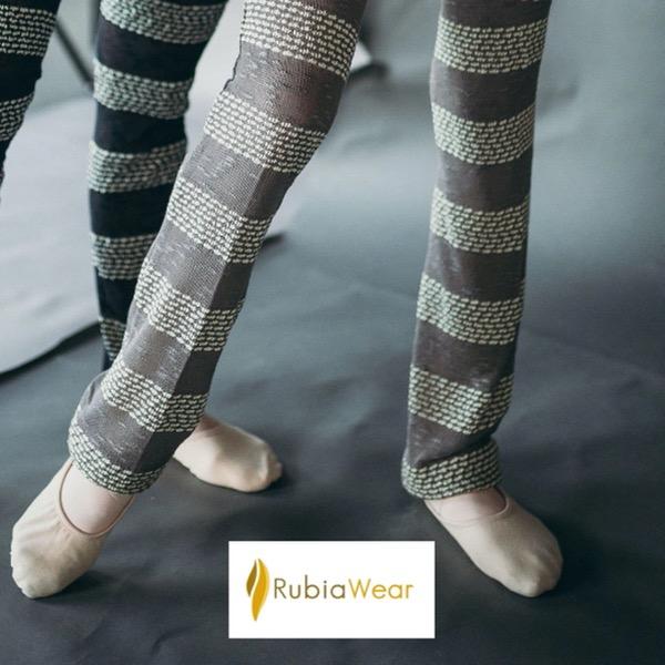 【Rubia Wear】 フル レッグウォーマー Nala グレーボーダー 大人用