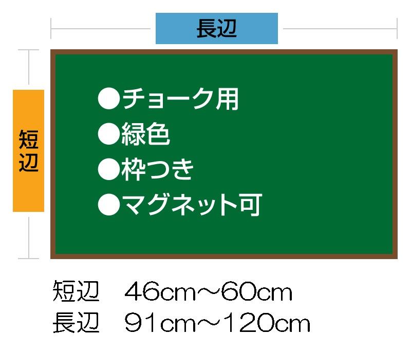 チョークボード(スチール製) 緑色(木目調枠付き) / (46cm〜60cm) x (91cm〜120cm) x 厚み2cm