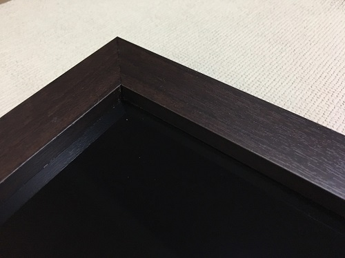 マーカーボード(スチール製) 黒色(木目調枠付き)/ (46cm〜60cm) x (46cm〜60cm) x 厚み2cm