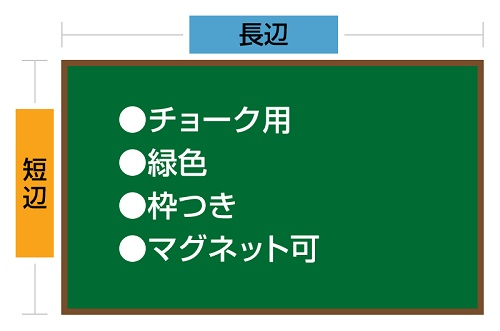 チョークボード(スチール製) 緑色(木目調枠付き) / (61cm〜90cm) x (61cm〜90cm) x 厚み2cm