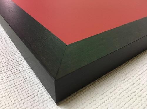 チョークボード(スチール製) 赤色(木目調枠付き) / (46cm〜60cm) x (46cm〜60cm) x 厚み2cm