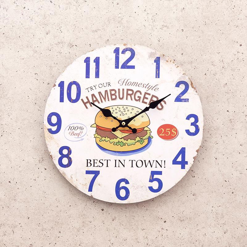 【掛時計】アンティークMDFクロック[Best HAMBURGER in Town]