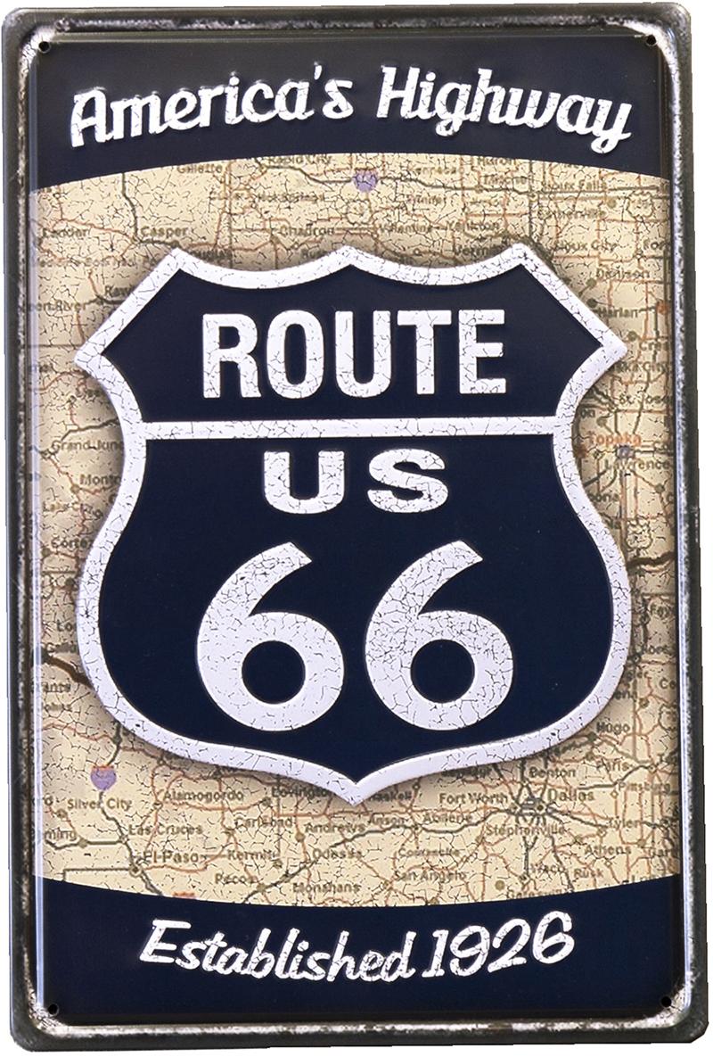 アンティークメタルプレート S [ROUTE US66 BL]