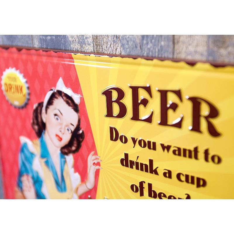 アンティークメタルプレート S [CUP OF BEER]