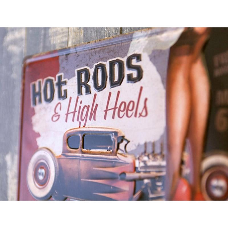 アンティークメタルエンボスプレート S [HOT RODS & HIGH HEELS ]<アメリカン雑貨>