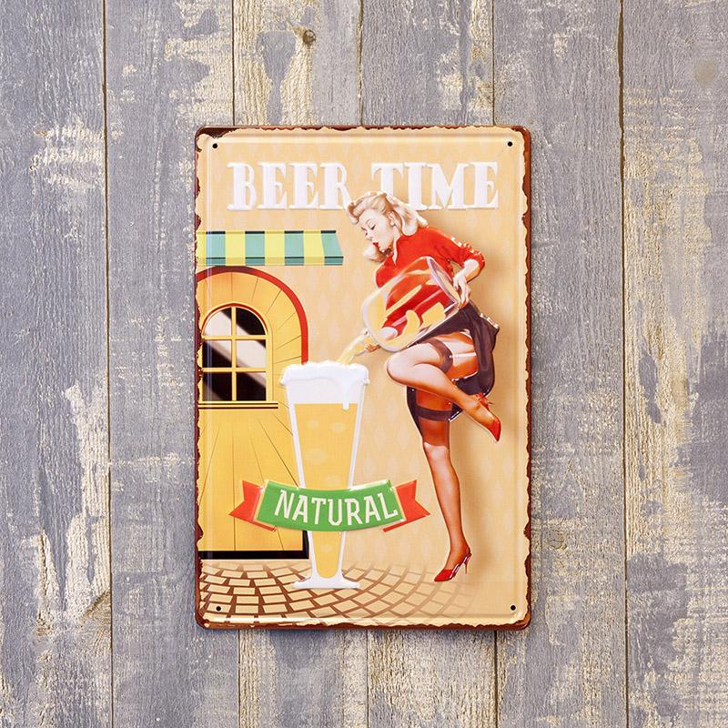 アンティークメタルエンボスプレート S [BEER TIME]<アメリカン雑貨>
