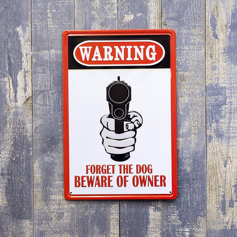 アンティークメタルプレート S [beware]<アメリカン雑貨>