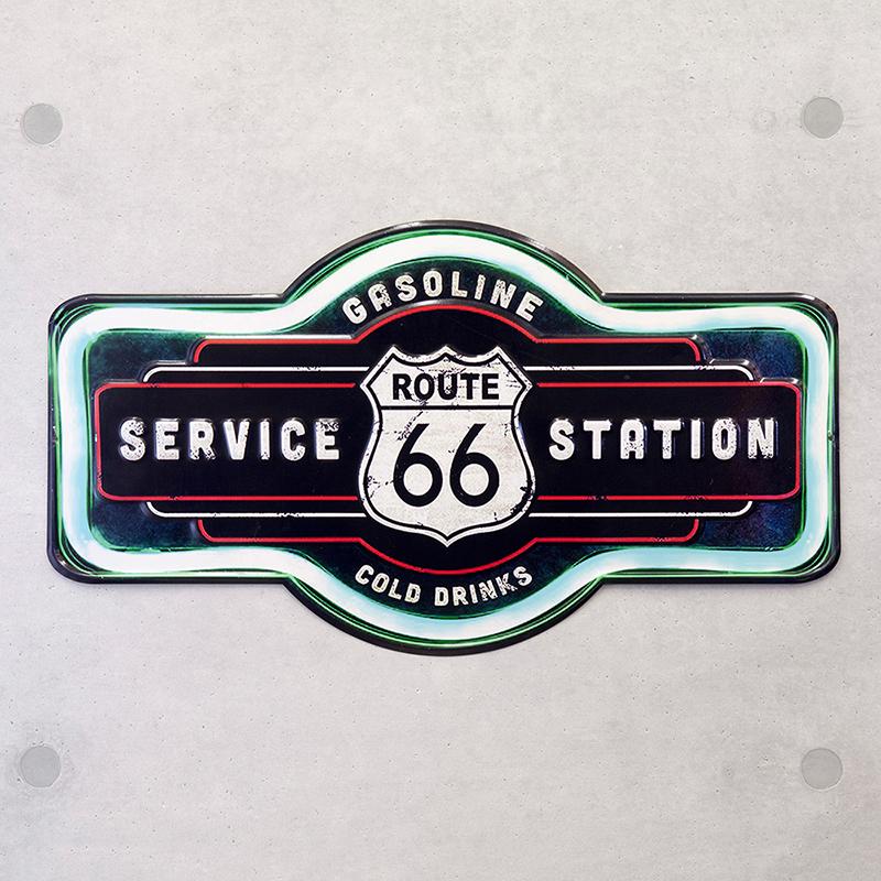アンティークエンボスプレート[ダイカット(66 SERVICE STATION)]<アメリカン雑貨>