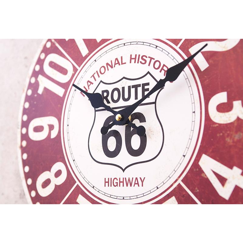 【掛時計】アンティークMDFクロック[66 National Historic Highway]