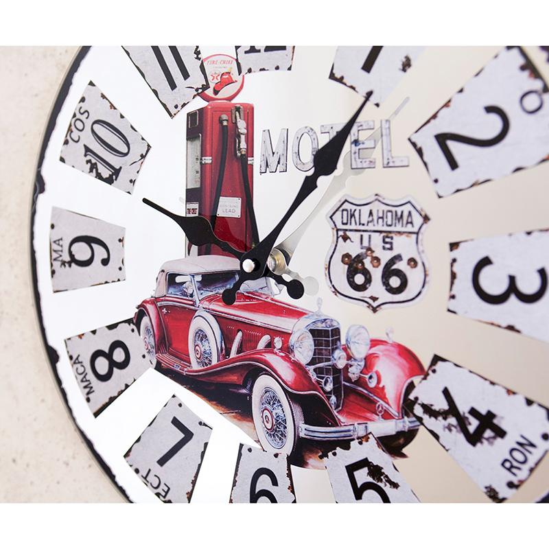 ミラーウォールクロック[RT 66 RED Historic Car]