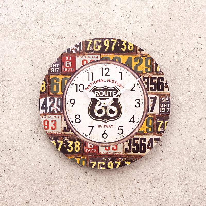 【掛時計】アンティークMDFクロック[66 License Plate]