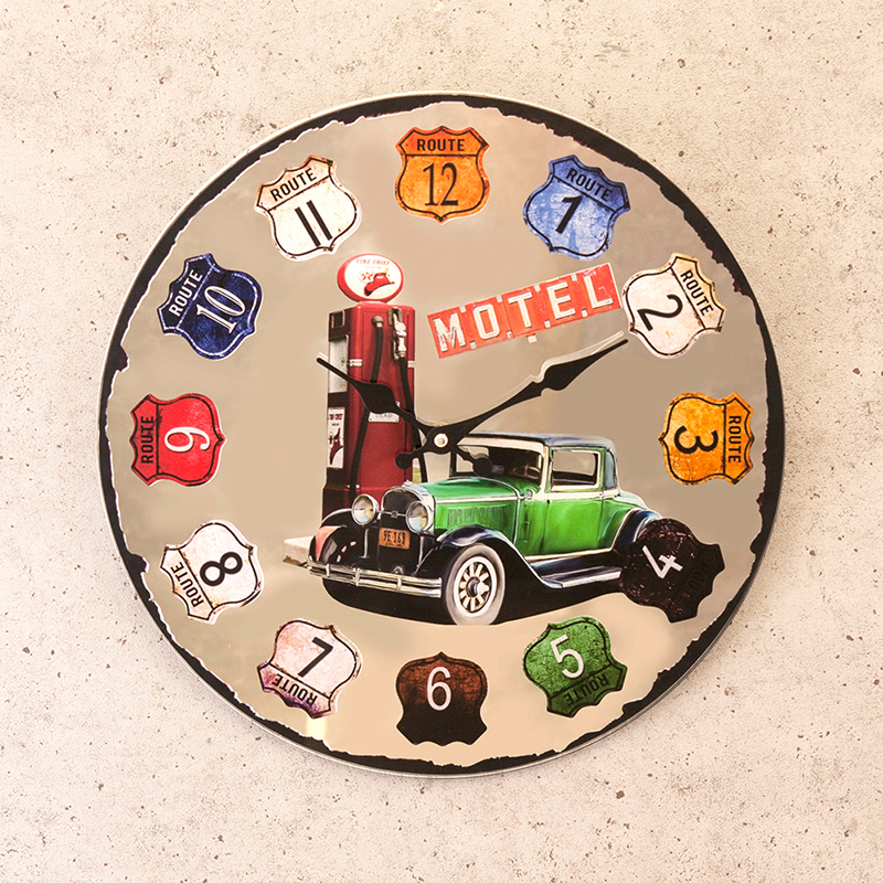 ミラーウォールクロック[RT 66 GREEN Historic Car]