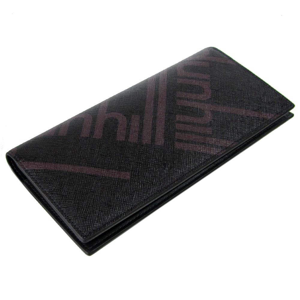 【名入れ可有料】 ダンヒル dunhill 長財布 小銭入れなし メンズ ラゲッジ キャンバス バーティカル コートウォレット ブラック×ブラウン 19F2910SC001