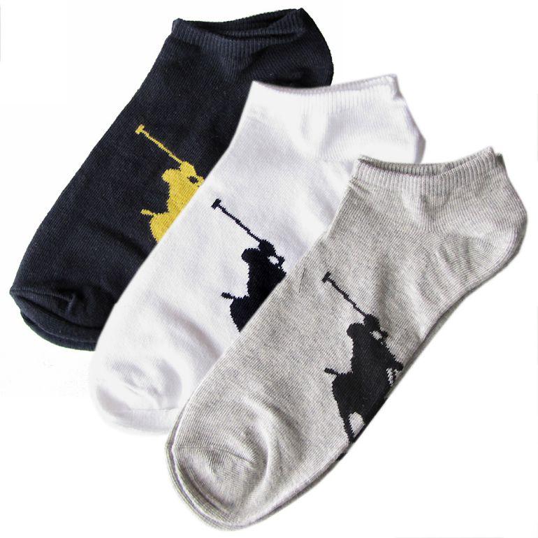 メール便可275円 ポロ ラルフローレン メンズ ソックス 靴下 3足セット ホワイト ブラック グレー 827025PK ASST