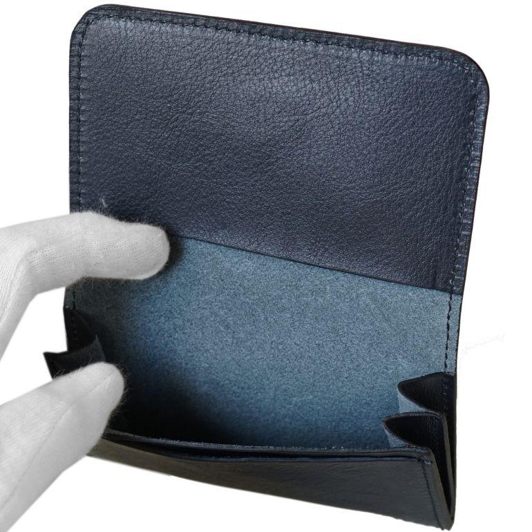 メール便可275円 イルビゾンテ カードケース メンズ レディース 名刺入れ バケッタレザー NAVY ダークネイビー C0470 P 137 名入れ可有料
