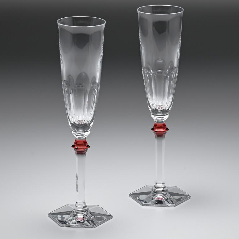 Baccarat グラス シャンパンフルート ペア アルクール イヴ レッドボタン シャンパングラス 25cm 2807194