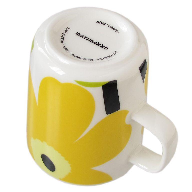 マリメッコ マグカップ コップ 250ml 食器 UNIKKO ウニッコ ホワイト×ライム 063431 020 名入れ可有料 ※名入れ別売り