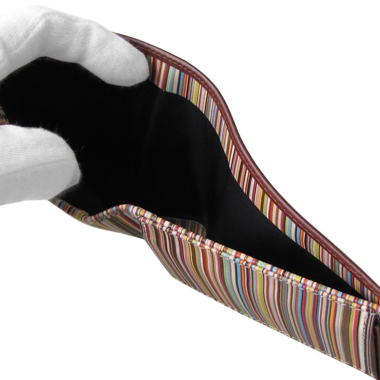 ポールスミス 二つ折り財布 メンズ ブラウン インテリアマルチカラー 4833 AMULTI 78 Made in ITALY 名入れ可有料