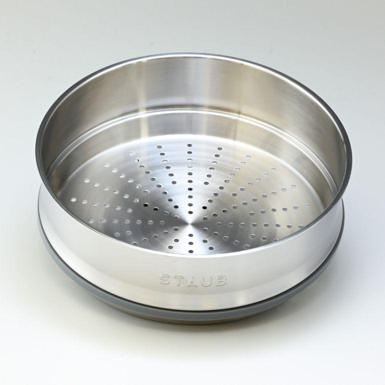 ストウブ ピコ ココット スチーマーセット ラウンド 鋳物 ホーロー 鍋 なべ 蒸し器 調理器具 グラファイトグレー 26cm 5.2L 1133818 (40510-605-0)