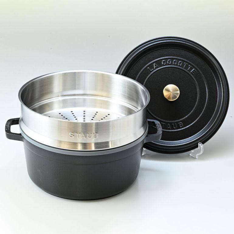 ストウブ ピコ ココット スチーマーセット ラウンド 鋳物 ホーロー 鍋 なべ 蒸し器 調理器具 ブラック 26cm 5.2L 1133825 (40510-606-0)