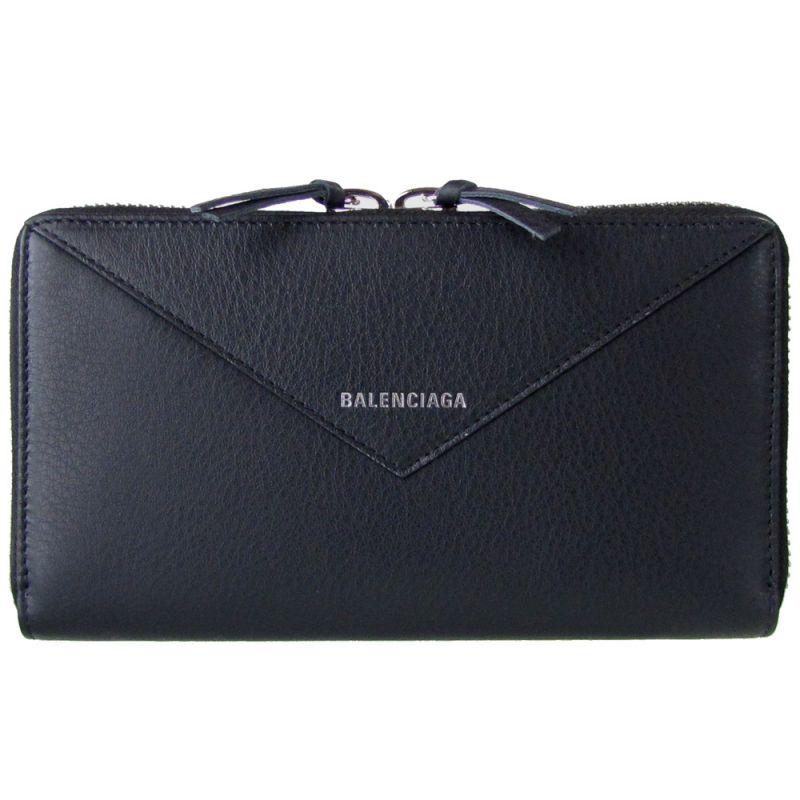 バレンシアガ 長財布 レディース ペーパー コンチネンタル ラウンドファスナー 381226 DLQ0N 1000 ノアール