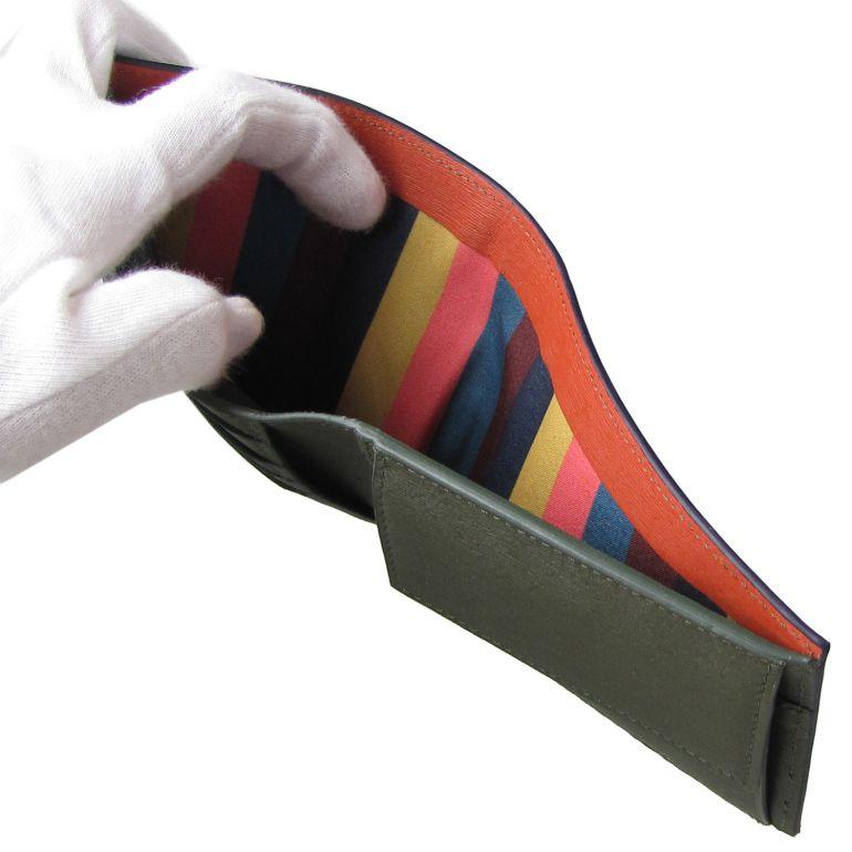 ポールスミス 二つ折り財布 メンズ ネイビー バイカラー 4833 ASTRGR 41 Made in ITALY 名入れ可有料