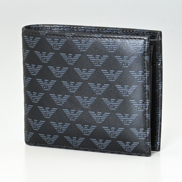 エンポリオ アルマーニ EMPORIO ARMANI 二つ折り財布 メンズ オールオーバーロゴ ブラック YEM122 YTO2J 84284 名入れ可有料