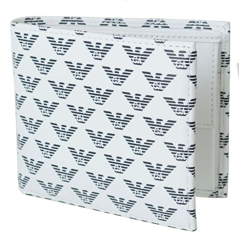 エンポリオ アルマーニ EMPORIO ARMANI 二つ折り財布 メンズ オールオーバーロゴ ホワイト YEM122 YTO2J 84715 名入れ可有料