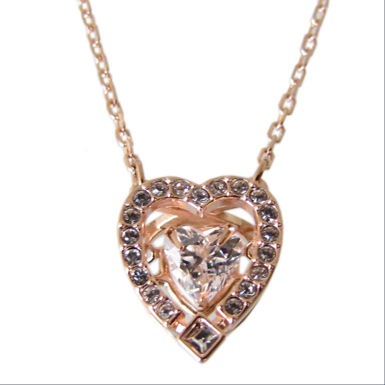 スワロフスキー ネックレス レディース Sparkling Dance Heart ハート ローズゴールド 5284188