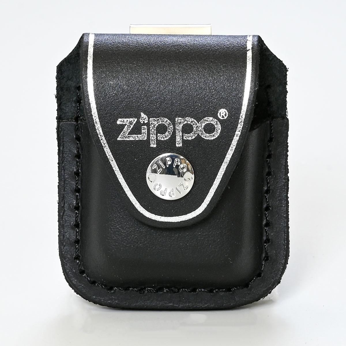 ジッポケース 専用ケース 革ポーチ クリップ留め ZIPPO純正 アクセサリ ブラック LPCBK