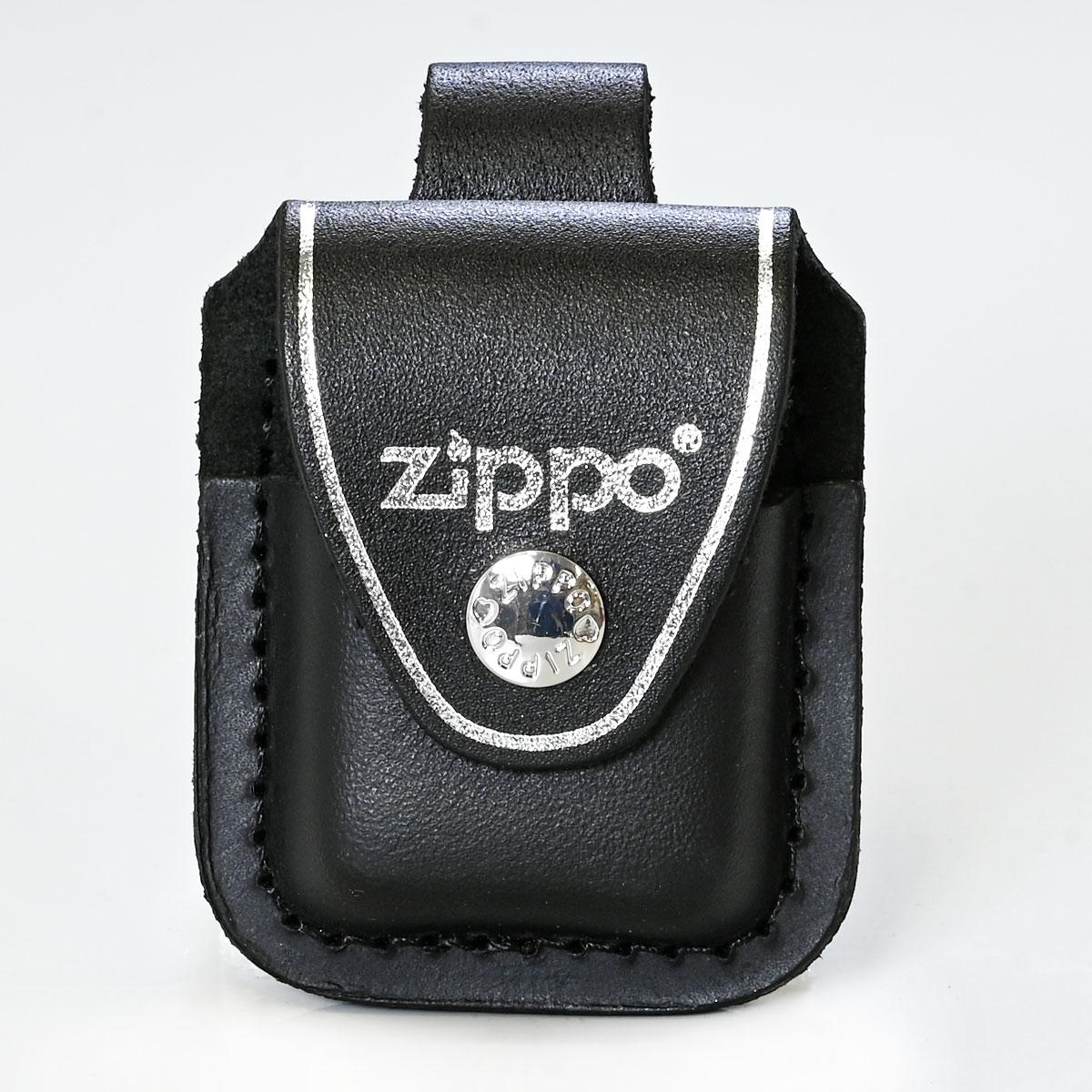 ジッポケース 専用ケース 革ポーチ ボタン留め ZIPPO純正 アクセサリ ブラック LPLBK