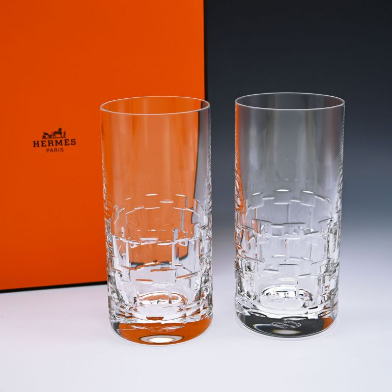 名入れ対応 エルメス HERMES グラス 新品 ハイボール タンブラー ペア アダージュ ADAGE クリスタル 010224P2