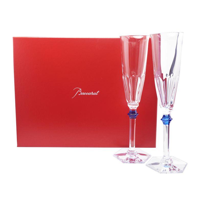 Baccarat グラス シャンパンフルート ペア アルクール イヴ ブルーボタン 25cm 2811092