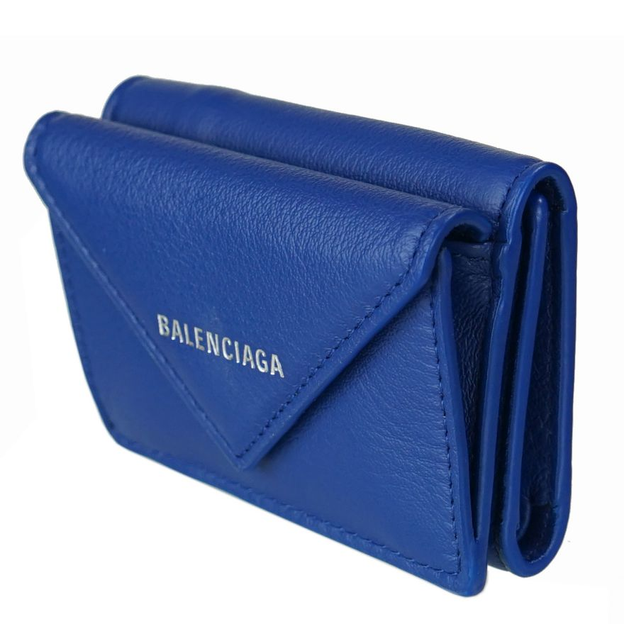 バレンシアガ BALENCIAGA 3つ折り財布 レディース ミニ財布 ペーパー ミニウォレット 391446 ブルー DLQ0N 4130
