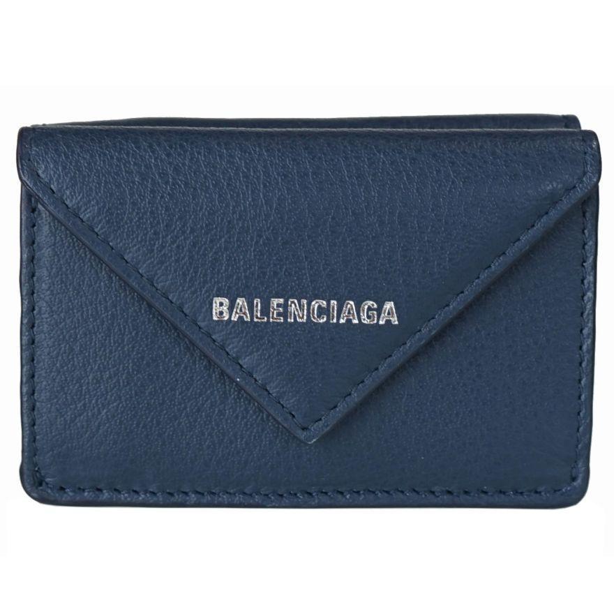 バレンシアガ BALENCIAGA 3つ折り財布 レディース ミニ財布 ペーパー ミニウォレット 391446 ブルー DLQ0N 4222