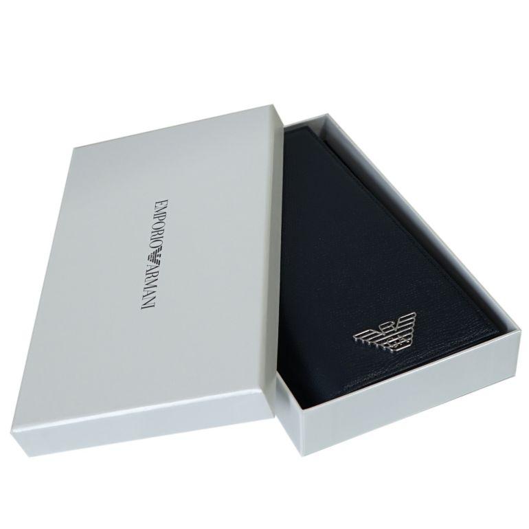 エンポリオ アルマーニ EMPORIO ARMANI 長財布 メンズ イーグルプレート ネイビー Y4R170 YLA0E 80455 名入れ可有料