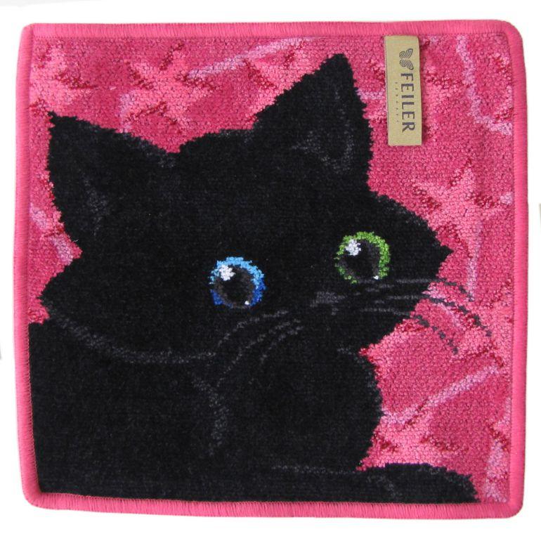 メール便可275円 純正ビニール袋付 フェイラー ハンカチ ハンドタオル タオルハンカチ 25cm ブラックキャット 黒猫 オッドアイ ピンク