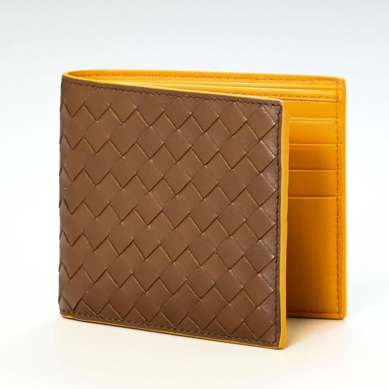 ボッテガヴェネタ BOTTEGA VENETA 二つ折り財布 札入れ メンズ 小銭入れなし イントレチャート ライトブラウン×パンプキン 113993 V465U 2548