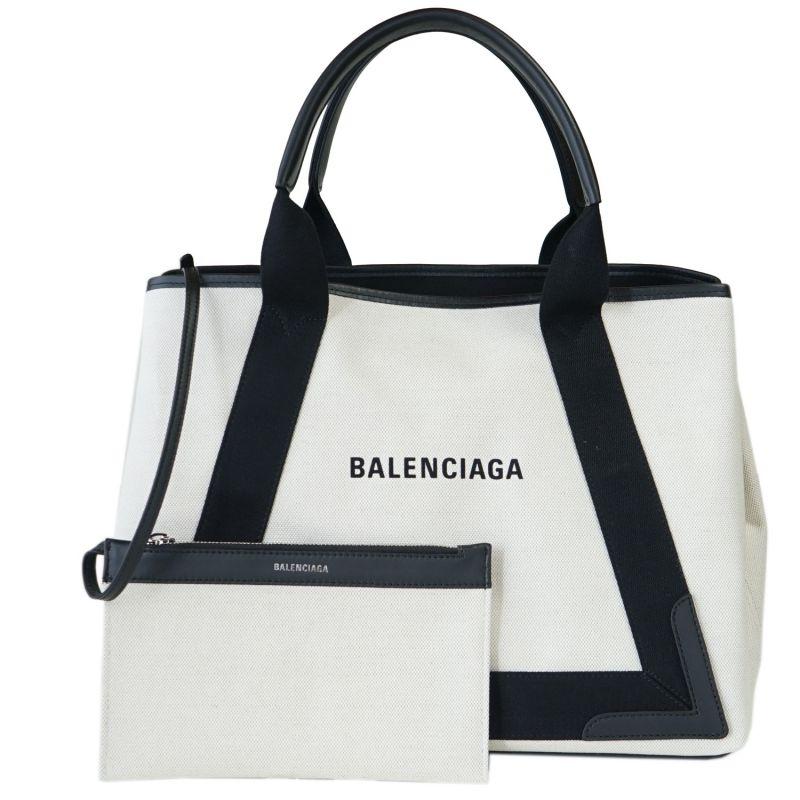 バレンシアガ トート バッグ BALENCIAGA レディース ハンドバッグ ネイビー カバ M 581292 AQ38N 1081 ナチュラル/ブラック