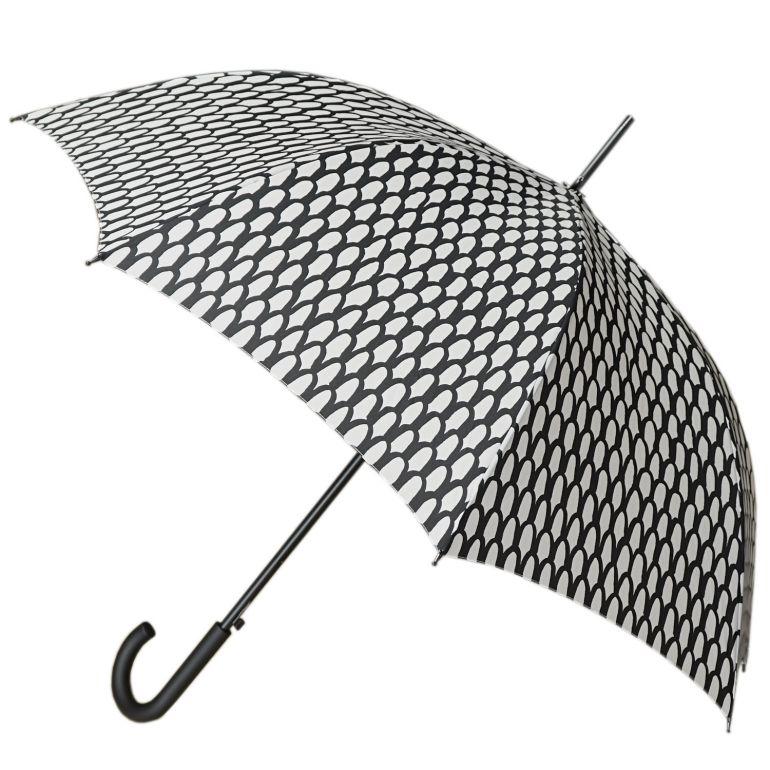 マリメッコ 傘 レディース スオム 長傘 アンブレラ ジャンプ傘 雨傘 ブラック×ホワイト 049222 190 名入れ可有料 ※名入れ別売り