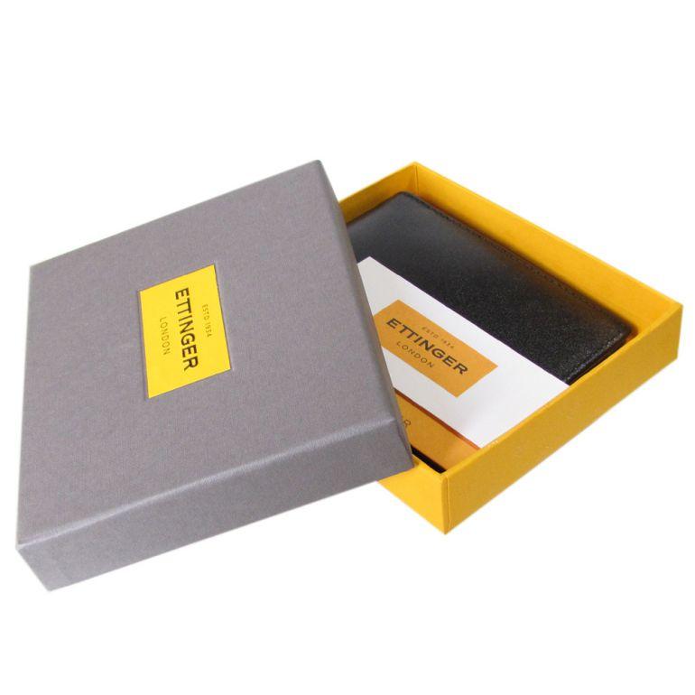 エッティンガー ETTINGER 二つ折り財布 小銭入れなし メンズ ロイヤルコレクション バイカラー ブラック×オレンジ ST030CJR ORANGE 名入れ可有料